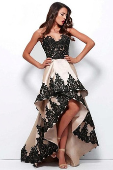 Δαντέλα Αμάνικο Καλοκαίρι υψηλή Χαμηλή Καθαρή πλάτη Μπάλα φορέματα