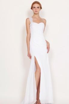 Σιφόν Αμάνικο Πλευρά σχισμή Λευκό δραματική Μπάλα φορέματα