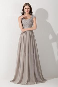 Άνοιξη Καθαρή πλάτη Αμάνικο Λαιμόκοψη V Πολυτελές Βραδινά φορέματα