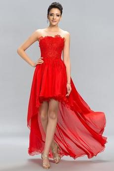 Ασύμμετρη Φυσικό Δαντέλα επικάλυψης Στράπλες Μπάλα φορέματα