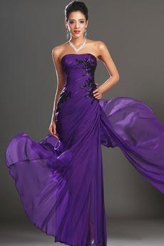 Φυσικό Αμάνικο Σταφύλι Μικροκαμωμένη Σιφόν Βραδινά φορέματα