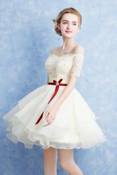 Κοντομάνικο Δαντέλα Δαντέλα επικάλυψης Δαντέλα-επάνω Κοκτέιλ φορέματα