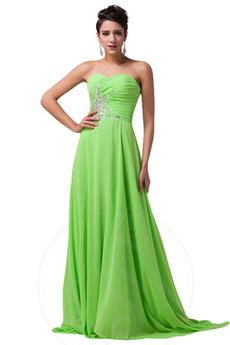 Οι πτυχωμένες μπούστο Σιφόν Γραμμή Α αγαπημένος Βραδινά φορέματα f1cfb19e68b