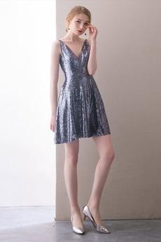 Φερμουάρ επάνω Γραμμή Α Ντραπέ Μέχρι το Γόνατο Κοκτέιλ φορέματα