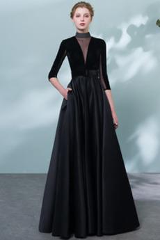 Γραμμή Α Πολυτελές Υψηλός λαιμός Φερμουάρ επάνω Μπάλα φορέματα