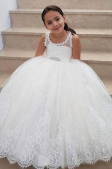Λουλούδι κορίτσι φορέματα Δαντέλα Γραμμή Α Διακοσμητικά Επιράμματα Αμάνικο Δαντέλα επικάλυψης