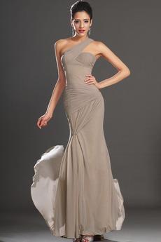 Σιφόν Λαμπερό Τα μέσα πλάτη Αμάνικο Πλαϊνό Ντραπέ Βραδινά φορέματα