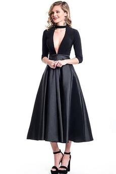 Το μήκος τσάι Βαθιά v-λαιμός Πολυτελές Έτος 2020 Μπάλα φορέματα