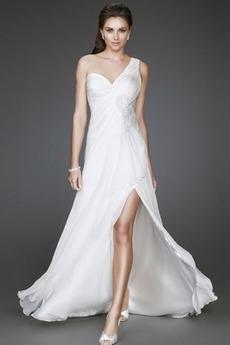 Άνοιξη Παραλία Λευκό Οι πτυχωμένες μπούστο Βραδινά φορέματα