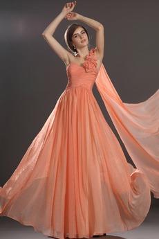 Φερμουάρ επάνω Ντραπέ Αμάνικο Ένα λουλούδι ιμάντα Βραδινά φορέματα