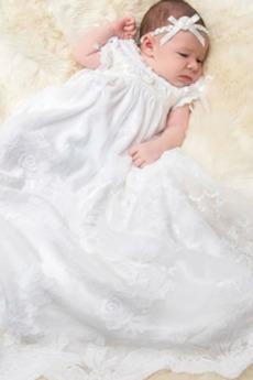 Υψηλή καλύπτονται Λουλούδι Τονισμένα τόξο Φόρεμα Βάπτισης