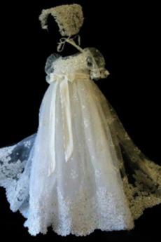Επίσημη Υψηλή καλύπτονται Δαντέλα Τονισμένα τόξο Φόρεμα Βάπτισης