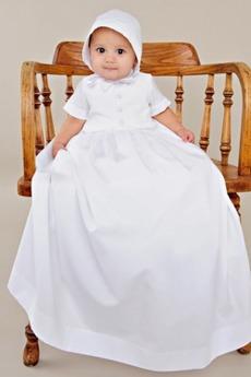 Σατέν Επίσημη Κοντομάνικο Υψηλός λαιμός Μακρά Φόρεμα Βάπτισης