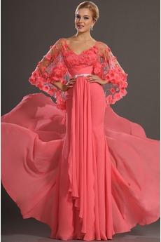 Σιφόν δραματική καρπούζι Τα μέσα πλάτη ρεγκλάν μανίκι Μπάλα φορέματα