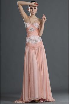 Ορθογώνιο Σιφόν Αμάνικο ροζ μαργαριτάρι Τούλι επικάλυψης Μπάλα φορέματα