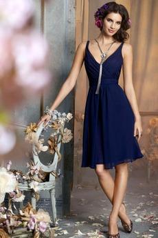απλός Φερμουάρ επάνω Λαιμόκοψη V Μέχρι το Γόνατο Παράνυμφος φορέματα