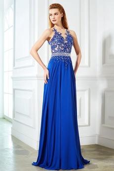 Μακρύ Αμάνικο Σέξι Σιφόν εξώπλατο Γραμμή Α Βραδινά φορέματα
