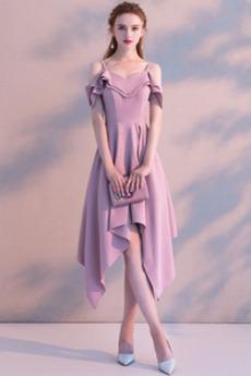Τιράντες σπαγγέτι Ασύμμετρη Προσαρμοσμένες μανίκια Κοκτέιλ φορέματα