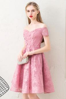 Από τον ώμο Μέχρι το Γόνατο Άνοιξη Δαντέλα Κοκτέιλ φορέματα