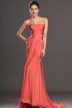 Φερμουάρ επάνω Χαμηλή Μέση Στράπλες Σιφόν Βραδινά φορέματα