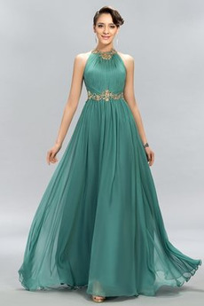 Σιφόν Αμάνικο Φυσικό Γραμμή Α Διακοσμημένες με χάντρες ζώνη Βραδινά φορέματα