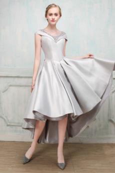 Χάντρες Αμάνικο Λαιμόκοψη V Φθινόπωρο Ασύμμετρη Κοκτέιλ φορέματα