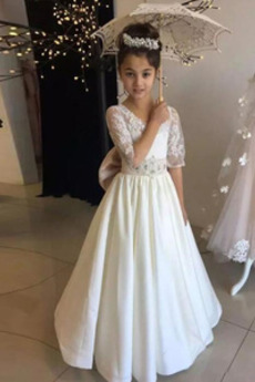 Λουλούδι κορίτσι φορέματα Ψευδαίσθηση Χάνει Μήκος πατωμάτων Άνοιξη Δαντέλα επικάλυψης