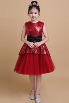 Κόσμημα Φερμουάρ επάνω Γραμμή Α Μέχρι το Γόνατο Λουλούδι κορίτσι φορέματα