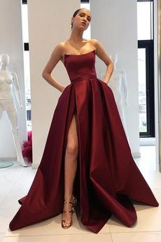 Σατέν Κομψό Αμάνικο Τσέπες Έτος 2020 Φερμουάρ επάνω Μπάλα φορέματα