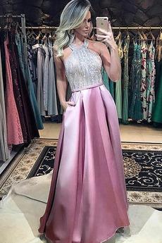 Ελαστικό σατέν Κόσμημα τονισμένο μπούστο Μπάλα φορέματα