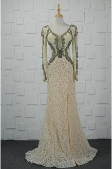 Ανάποδο Τρίγωνο Φυσικό Μπροστινό σχισμή Δαντέλα Βραδινά φορέματα