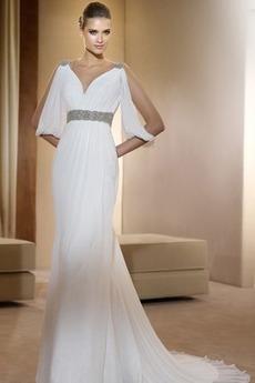 Ρομαντικό Γαμήλιο φόρεμα θεά Σιφόν Μικρό Νυφικά