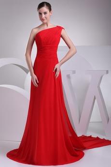 απλός Φυσικό Γραμμή Α Σιφόν Ασύμμετρα μανίκια Βραδινά φορέματα