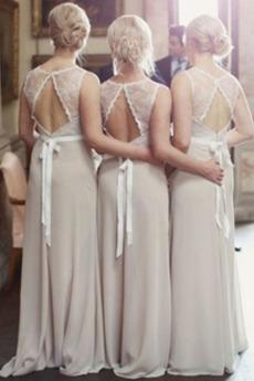 Δαντέλα επικάλυψης Γραμμή Α σύγχρονος Φθινόπωρο Παράνυμφος φορέματα