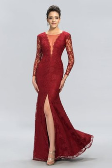 Μπροστινό σχισμή Μακρύ Μανίκι Πολυτελές Ψευδαίσθηση Βραδινά φορέματα