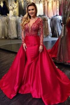 Βραδινά φορέματα Μακρύ Σατέν Κόσμημα τονισμένο μπούστο Φυσικό εξώπλατο
