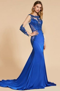 εξώπλατο Κεντήματα Δαντέλα Ψευδαίσθηση Μακρύ Μανίκι Βραδινά φορέματα