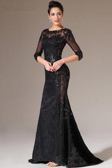 Δαντέλα επικάλυψης Κόσμημα Επίσημη Μισό Μανίκι Βραδινά φορέματα