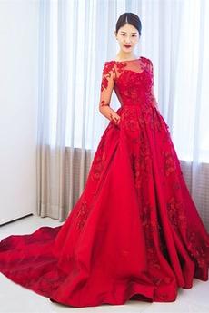 Βραδινά φορέματα Καλοκαίρι Σατέν βάρκα Λουλούδι Έτος 2019 Δικαστήριο αμαξοστοιχίας