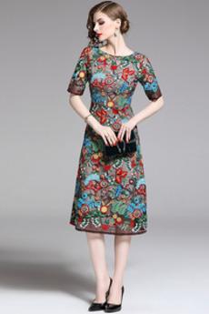 Βραδινά φορέματα Δαντέλα Πολύχρωμο Κοντομάνικο Κόσμημα Κομψό & Πολυτελές