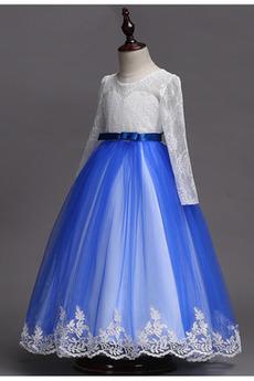 Τονισμένα τόξο Μέχρι τον αστράγαλο Κόσμημα Λουλούδι κορίτσι φορέματα