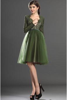 Φυσικό Αποκλειστική Μέχρι το Γόνατο Μακρύ Μανίκι Μπάλα φορέματα