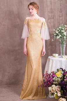 Χαλαρά μανίκια παγιέτες μπούστο Γραμμή Α Βραδινά φορέματα