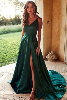 Αμάνικο Γραμμή Α Φερμουάρ επάνω Τιράντες σπαγγέτι Βραδινά φορέματα