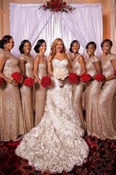Κοντομάνικο Φερμουάρ επάνω Χάνει Φυσικό Λάμψη Παράνυμφος φορέματα