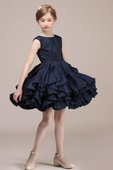 Αμάνικο Φυσικό Σατέν Φερμουάρ επάνω Γραμμή Α Λουλούδι κορίτσι φορέματα