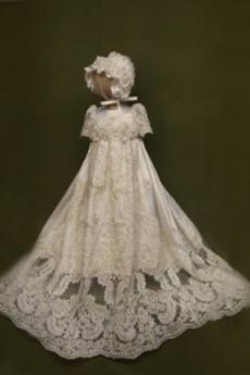 Φθινόπωρο Πριγκίπισσα Φυσικό Σατέν Επίσημη Φόρεμα Βάπτισης