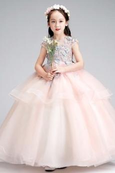Κόσμημα πολλαπλών στρώμα Φερμουάρ επάνω Χάνει Λουλούδι κορίτσι φορέματα