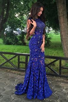 Μπάλα φορέματα Αμάνικο Ντραπέ εξώπλατο Θήκη βλέπω μέσω Δαντέλα
