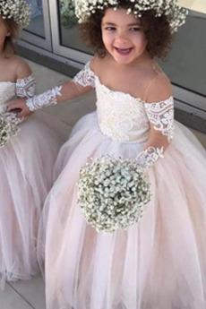 Λουλούδι κορίτσι φορέματα Έτος 2019 Δαντέλα επικάλυψης Κομψό & Πολυτελές Φερμουάρ επάνω